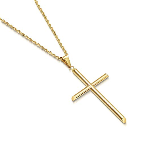 - 14K Gold Rope Chain Style Cross Pendant Necklace Solid Clasp for Men,Women,Teens Thin for Charms Miami Cuban Link Diamond Cut 24