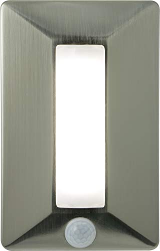 - GE Enbrighten Wireless Motion-Activated LED Light, Battery-Operated, Brushed Nickel Finish, 300 Lumens, 3000K Warm White, 40W Bulb Equivalent, Dimmable, Portable Emergency Lighting, 10497