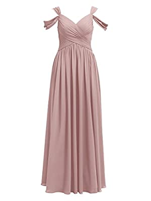 Alicepub Pleated Chiffon Bridesmaid Dress Long Formal Event Dress for Wedding Party