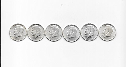 1964 KENNEDY SILVER HALF DOLLARS-----SET OF 6 SHARP HALVES---$3 FACE VALUE---VERN'S CARD & COIN AU-BU