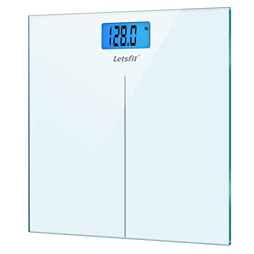 Letsfit Digital Body Weight Scale, Bathroom Scale with Large Backlit Display, Step-On Technology, High Precision Measurements, 400 Pounds 180kg Max, 6mm Tempered Glass (Best Electronic Bathroom Scales)