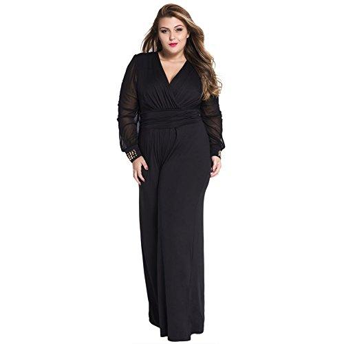 Women Plus Size Long Mesh Sleeves Plunge V Neck Wide Leg Wear to Work Casual Romper Jumpsuit (XX-Large, Black)