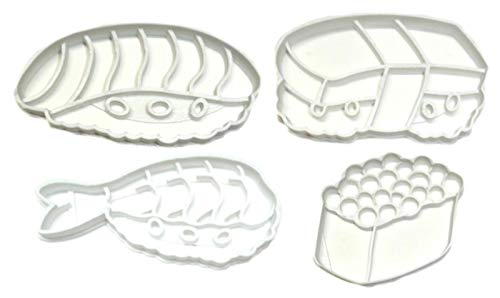 - SUSHI KIT TAMAGO SHRIMP SALMON ROE JAPANESE CHINESE KOREAN SEAFOOD VEGETABLE RICE APPETIZER MAIN DISH FOOD FISH SET OF 4 SPECIAL OCCASION COOKIE CUTTER BAKING TOOL 3D PRINTED MADE IN USA PR1286