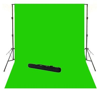 - ePhoto 10' X 12' Video Photography Studio Chroma Key Chromakey Green Screen Cotton Muslin Backdrop Seamless and Background Supporting System Kit with Carrying Case