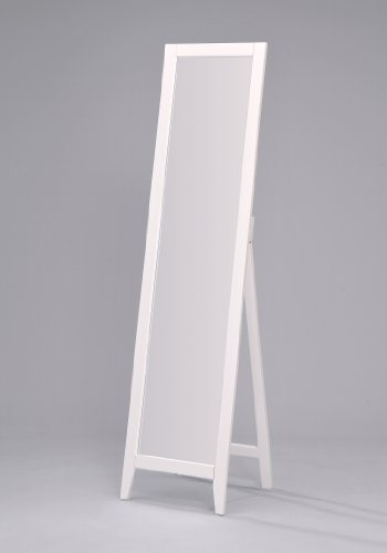Kings Brand Furniture - White Finish Solid Wood Frame Free Standing Floor Mirror (Wall Mirror Oval Full Length)