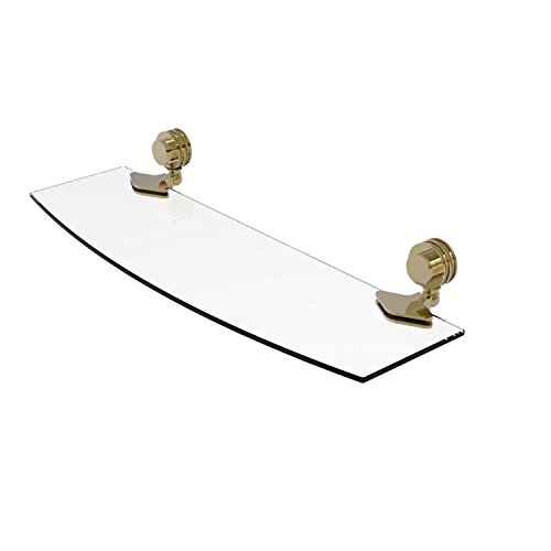 Allied Brass Venus Collection 18 Inch Glass Shelf with Dotted Accents 433D/18 - Unlacquered Brass by Allied Precision Industries