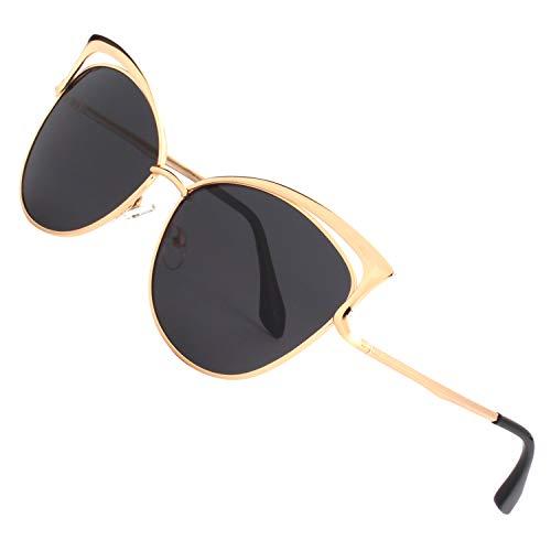 Miroir pour GQUEEN Noir UV400 Fashion Lunettes cadre Twin soleil MS4 Or de Métallique Classique de polarisé Oeil Mode femme cateye Beams 1 Chat Réfléchissantes wrwTOgnq