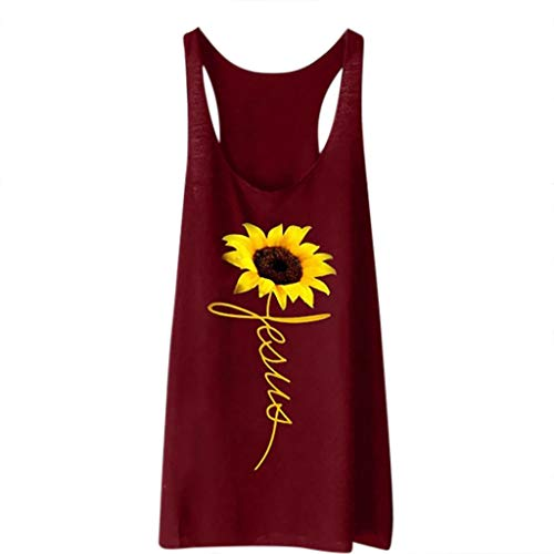 KI-8jcuD Women Print Vest Casual Loose Top Sleeveless Tank Sport Pullover ()