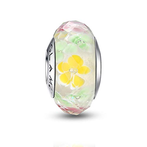 Glamulet Murano Glass Charms Beads for Pandora Bracelets Pandora Charm 925 Sterling Silver Disney Art Pendant Jewelry (Yellow Flower)