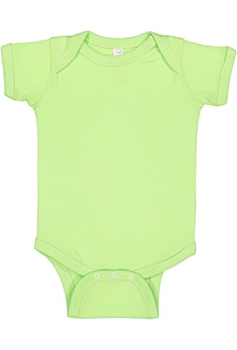 Rabbit Skins Infant 100% Cotton Jersey Lap Shoulder Short Sleeve Bodysuit (Key Lime, 12 Months) -