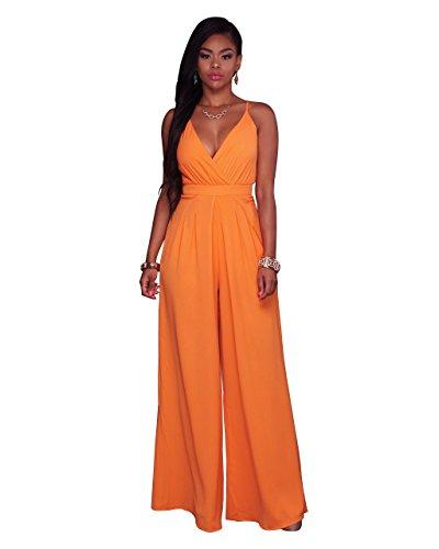 Women's Strap V Neck High Waist Long Wide Leg One Piece Jumpsuits Overalls Orange (Orange Jumpsuit Buy)