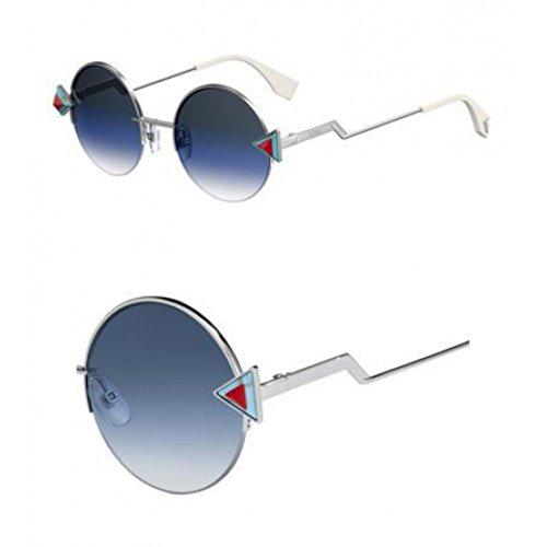 Fendi Women's Round Sunglasses, Silver Blue/Khaki Aqua, One -