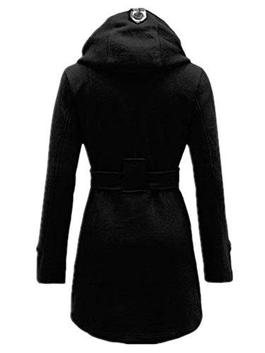 Plus Double Costume Eleganti Huixin Caldo Mantello Breasted Cappuccio Autunno Inclusa Cappotto Lunghe Fashion Outerwear Schwarz Maniche Libero Invernali Transizione Cintura Prodotto Di Donna Con Tempo Giorno qaRF8