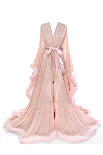 BBCbridal Women Sexy Feather Long Wedding Scarf Illusion Nightgown Robe Perspective Sheer Bathrobe Sleepwear A Blush S/M