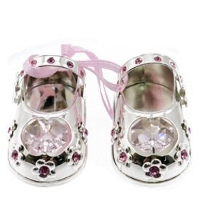 0c9c0693f39 Image Unavailable. Image not available for. Colour: Silver Swarovski  Crystal Baby Girl Pink Shoes Ornament - Christening Gift ...