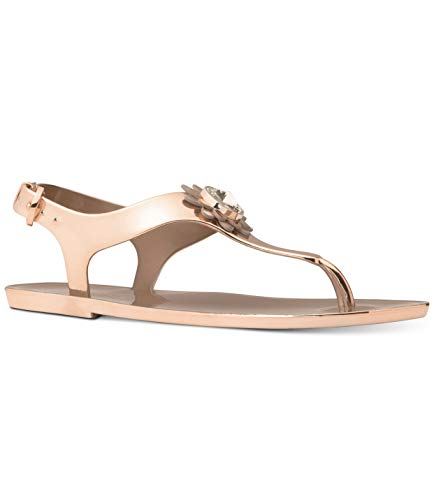 T-strap Sandals Michael Kors - Michael Michael Kors Miley Jelly Flat Sandals (8) Rose Gold