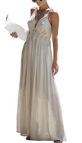 R.Vivimos Women Summer Cotton Spaghetti Straps V Neck Backless Sexy Beach Flowy Long Dresses (XL, Beige)