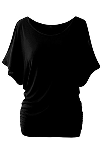 YMING Women Solid Cold Shoulder Off Shirt Casual Cutout Sleeve Top Blouse Black M