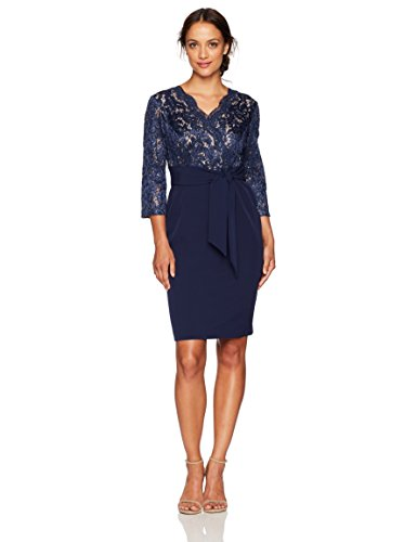 Alex Evenings Women's Short Lace Bodice Dress with Bow (Petite and Regular Sizes), Navy Nude, 6P