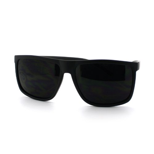 Super Dark Black Lens Men's Sunglasses Classic Square Frame - Black Men Sunglasses