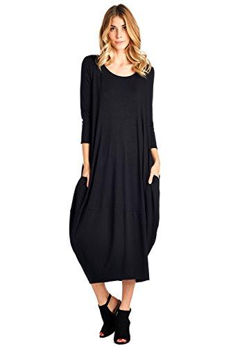 12 Ami Solid 3/4 Sleeve Bubble Hem Pocket Midi Dress Black (Bubble Sleeve)