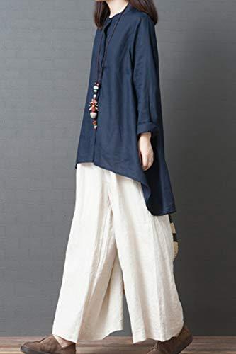 De Fonc Bleu Tops Longues Printemps Manches Linene Blouse Fasumava Casual Coton Femmes Automne dHxCd71qw