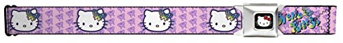 Buckle-Down Seatbelt Belt - Butterfly Bow HELLO KITTY/Butterfly Monogram Pink/Purple - 1.5