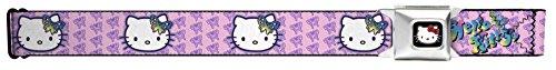 Buckle-Down Seatbelt Belt - Butterfly Bow HELLO KITTY/Butterfly Monogram Pink/Purple - 1.5