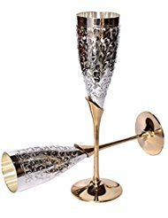 Tuzech Silver Plated Royal Brass Goblet Flute Champagne Wine Glass (Set Of 2) ()