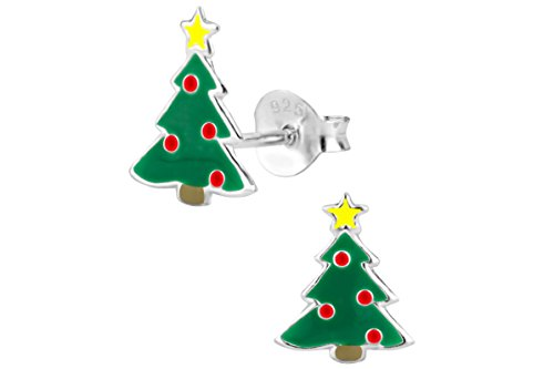 Hypoallergenic Sterling Silver Red and Green Christmas Tree Stud Earrings for Kids (Nickel Free)