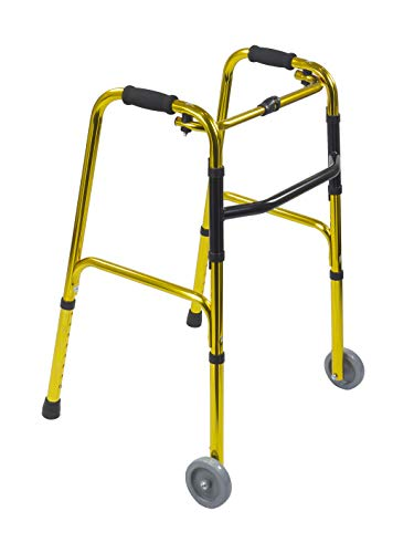 KosmoCare Light Weight Aluminum Height Adjustable Reciprocal Folding Walker 4 with Castors -Champagne