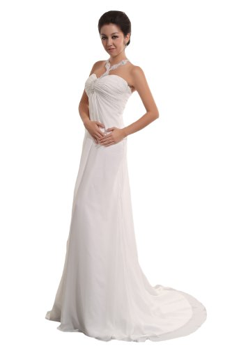 Massoo Women's Petite Fashion Halter Chiffon Sheath Brush Train Wedding Dress US-26W (Halter Brush Train)