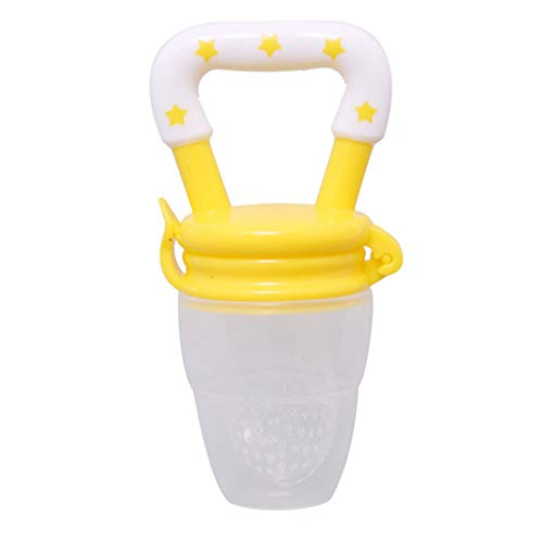 Food Supplement Feeder Baby Baby teether Vegetable Fruit Baby Tooth Toy Ring Chewing Pacifier Yellow