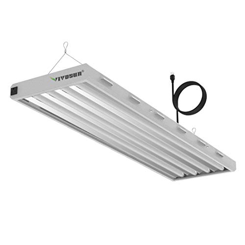 VIVOSUN 6500K 4FT T5 HO Fluorescent Grow Light Fixture for Indoor Plants, UL Listed High Output Fluorescent Tubes, 4 Lamps (Best Fluorescent Lights For Growing Plants)