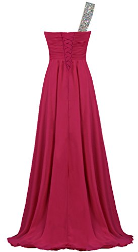 Women's Shoulder Long Crystal Burgundy Evening ANTS Gown Prom Chiffon One Dress Iqdx0wB