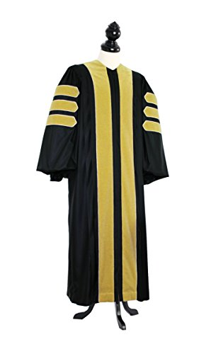TIMELESS Women Deluxe Doctoral of Library Science Academic Gown for faculty and Ph.D. gold silk Custom Size Black by TIMELESS - bespoken