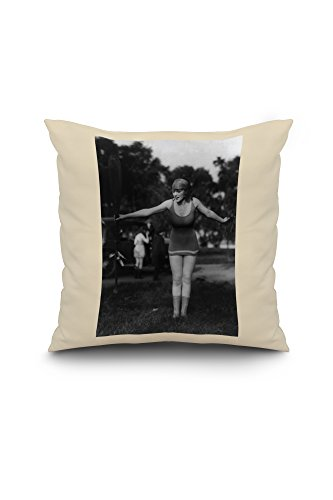 Girl in Bathing Suit Holding Up Oar Photograph (18x18 Spun Polyester Pillow, White Border)
