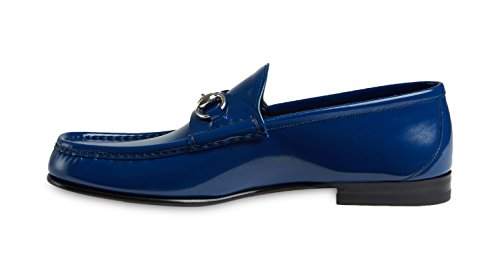Gucci-Mens-Blue-Bushed-Leather-Horsebit-Loafers-Shoes