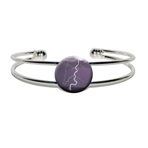[Graphics and More Lightning Strike - Thunderstorm Storm - Novelty Silver Plated Metal Cuff Bangle] (Thunder Lightning Costume)