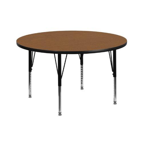 (Flash Furniture 42'' Round Oak Thermal Laminate Activity Table - Height Adjustable Short Legs)