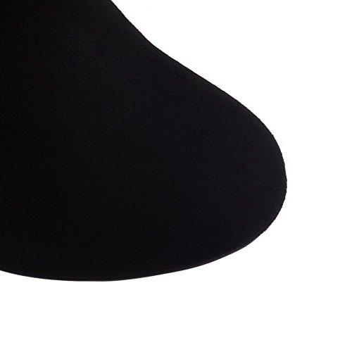 AllhqFashion Damen Rein Hoher Absatz Reißverschluss Rund Zehe Stiefel mit Rivet Set Schwarz