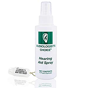 Audiologist's Choice Hearing Aid Cleaner (4 oz Spray) – Cleans Your Hearing Aids – Includes Liberty Hearing Aid Battery…