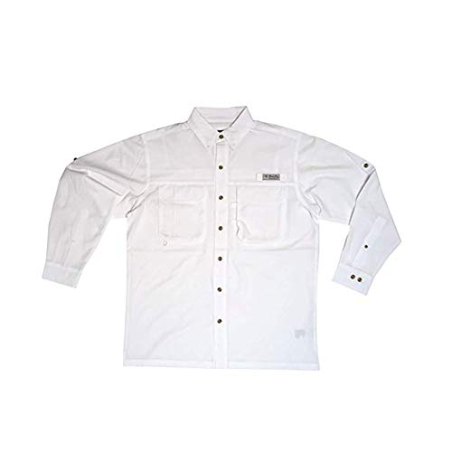 Bimini Bay Outfitters Men's Flats IV Long Sleeved Shirt, White, Medium
