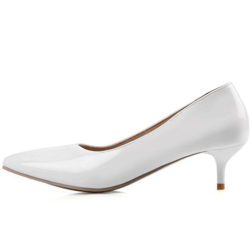 COOLCEPT Damen Simple Basic Office Pumps Slip On Kitten Heels Work Schuhe White