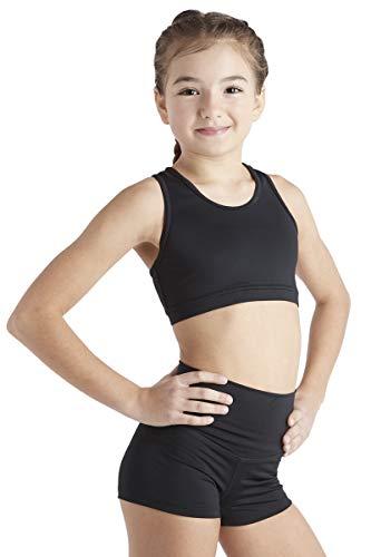 Liakada Girls Stylish & Supportive Basic Sports Bra with Integrated Bra Shelf Liner Dance, Gym, Yoga, Cheer! Black