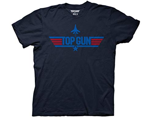 Ripple Junction Top Gun Adult Unisex 2 Color Logo with Jet Heavy Weight 100% Cotton Crew T-Shirt SM Navy