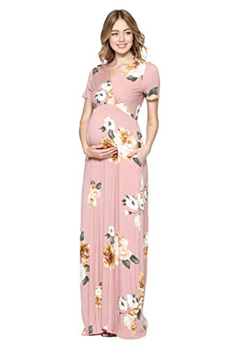 LaClef Women's Maternity Maxi Wrap Dress with Side Pocket (Blush Floral, L)