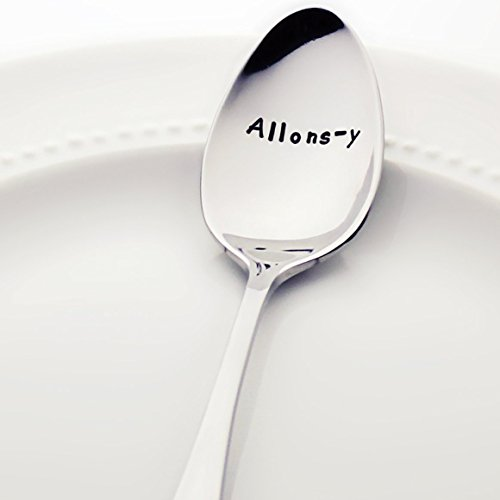 Doctor Who: Allons-y - (Option to Personalize with a Name) - Stainless Steel Stamped Spoon, Stamped Silverware | Unique Birthday Gifts for Him | Geek Gifts