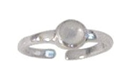 - Sterling Silver Dainty Adjustable Mother Of Pearl Dot Toe Ring