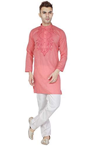 SKAVIJ Men's Cotton Tunic Kurta Pajama Set Evening Dress (Large, Pink) (Party Wear Dresses For Mens In Summer India)